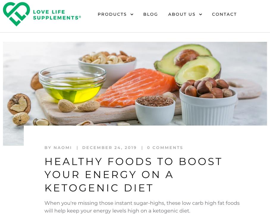 Blog post on keto diet